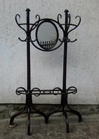 Eredeti jelzett nagyméretű THONET Nr.1 gardrób, fogas - eredeti tükörrel 1880-ból