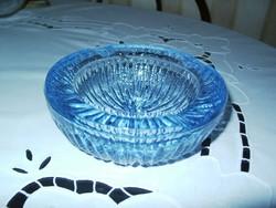 Szép, kék tömör üveg, nehéz hamutartó