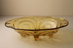 Art Deco borostyán színű öntött üveg tál