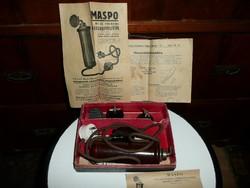 MASPO féle vibrációs massage készülék  minden papírjával 1940-ből gyári dobozában MŰKÖDIK!!!!
