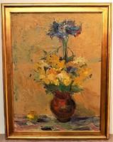 Vilhelm Károly (1943-2011) Csendélet c. Képcsarnokos olajfestménye 92x72cm EREDETI GARANCIÁVAL !!