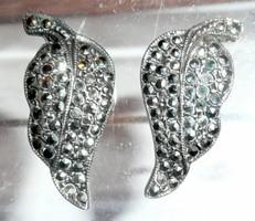 Ezüst, markazit levél formájú fülbevaló pár