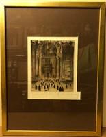 """Gy. Sándor József 16x20 cm-es rézkarc """"Templomból jövők"""" ."""