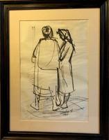 """Soltész Albert 1964., 28x41 cm-es """" Asszonyok """" tus, papír,külmérete 44x57 cm"""