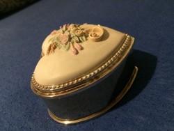 Régi nehéz porcelán betétes fém ékszeres 8.5×8.5cm