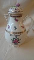 Gyönyörű, teljesen ép 18. századi Altwien kávéskanna bécsirózsás motívummal, fedővel