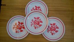 4 db rózsa mintás Gránit lapostányér