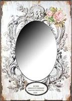 ÚJ!! Barokkos hangulatú, fotónyomatos, rózsás tükör 50x70 cm