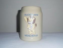 Német kerámia sörös korsó 0.5 liter - RUDER WM München 1981