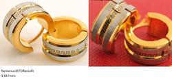 Nemesacél fülbevaló görög mintával arany színben