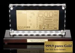 24 kt ARANY 500 EURO BANKJEGY, BANKJEGYVERET, LUXUS ASZTAL VITRIN DÍSZ, EXKLUZÍV ANTIK JELL. AJÁNDÉK