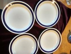 Hollóházi kék csíkos tányér 4 darab 19 cm