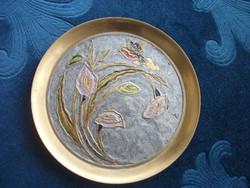 Rekeszzománc cloisonné réz kis dísztál madár virág  mintával-10 cm