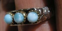 925 ezüst gyűrű, 18,3/57,5 mm, larimárral, kézi készítés