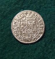 Gyönyörű 3 krajcár 1670.Olmütz, II. Károly  1,55 g.