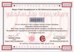 CBA Utalvány 2000 Forint - 1999 - UNC