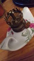 Rózsás porcelán petróleumlámpa, felső rész nincs meg hozzá
