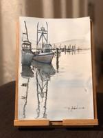 Kikötő akvarell 18x26cm D.Szabó