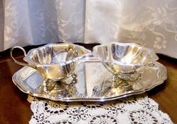 Pazar, tükörfényes, neobarokk, vastagon ezüstözött, 3 részes teás vagy kávés szervizkészlet