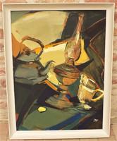 Jánosházi Ágnes (1946- ) Csendélet l c. képcsarnokos olajfestménye 86x66cm EREDETI GARANCIÁVAL !!!