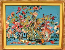 Brokés Ágnes (1940-) Virág csendélet c. képcsarnokos olajfestménye 86x66cm EREDETI GARANCIÁVAL !!!