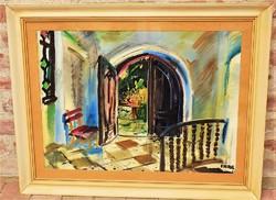 Imre István (1918-1883) Előtér c. képcsarnokos festménye 86x66cm EREDETI GARANCIÁVAL !!!