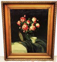 Murin Vilmos (1891-1952) Rózsás csendélet c olajfestménye 90x75cm EREDETI GARANCIÁVAL !!!