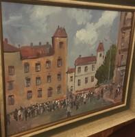 Bánfi festmény, olaj, karton, szignózott, keretes 52 cm X 42 cm