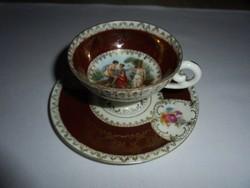 Szépséges Altwien porcelán jelenetes kávéscsésze+alj