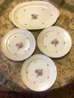 Csodaszép régi német porcelán Thomas Ivory kínáló tál + tányér készlet 1 + 6 db