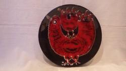 Jelzett retro iparművész kerámia madaras tál