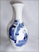 Antik, kézzel festett, kék festésű kínai porcelán váza
