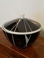 Retro porcelán cukortartó régi art deco fedeles fekete bonbonier