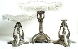 Antik Szecis ezüst 800 kínáló asztalközép garnitúra