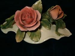 Hibátlan antik ENS porcelán két virágos rózsa