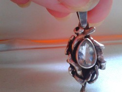 Akvamarin köves ezüst kézműves medál