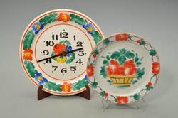 Kalocsai mintás konyhai óra és kistányér.
