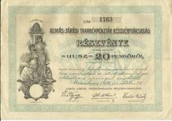 Almás-Járási Takarékpénztár Részvénye.-1926