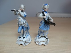 Antik 19 századi  porcelán zenész páros .