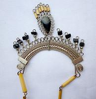 Retró nyaklánc, nádszál, kövek és filigrán fém... retro dizajn