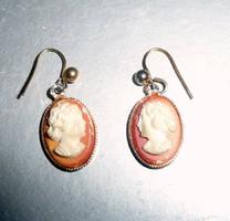 Aranyozott fém kámea fülbevaló pár