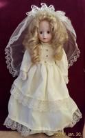 Antik menyasszony baba, porcelán feje, keze, lába, 40 cm magas