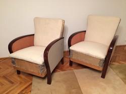 Régi vintage art deco karfás fotel részben felújítva