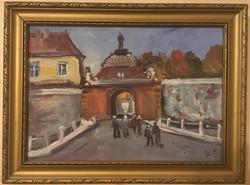 Bánfi festmény, olaj, karton, szignózott, keretes 29 cm X 39 cm