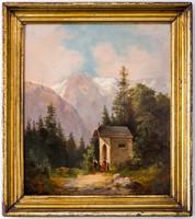 19. századi osztrák festő: Kápolna a hegyek között