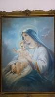 Gyönyörű Mária kis Jézussal hatalmas festmény - Schnell szignóval