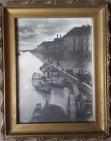 Szegedi fénykép a hídról magas vizállásnál, haltartó bárkák, Roosevelt tér(Rudolf tér -Makai-piac)