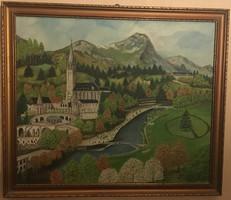 Jo Hepsi olaj, vászon 1981, 66 x 56,5 cm Falu a vár alatt