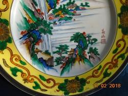 Kutani tányér több perspektívából megfestett tájjal 4 szignóval-24,5 cm