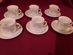 1890 6 db csodás virág mintás kávés csésze és kistányér